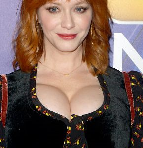 Christina Hendricks Busting Out Her Ginormous Super Cleavage