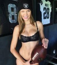 Josephine Skriver Watching the Raiders in Her Underwear