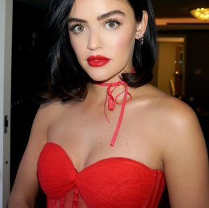 Lucy Hale's Red Hot Cleavage